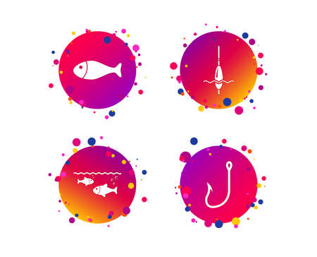 Fishing icons. Fish with fishermen hook sign. Float bobber symbol. Gradient circle buttons with icons. Random dots design. Vector Illustration