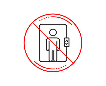 No or stop sign. Elevator line icon. Transportation lift sign. Caution prohibited ban stop symbol. No  icon design.  Vector