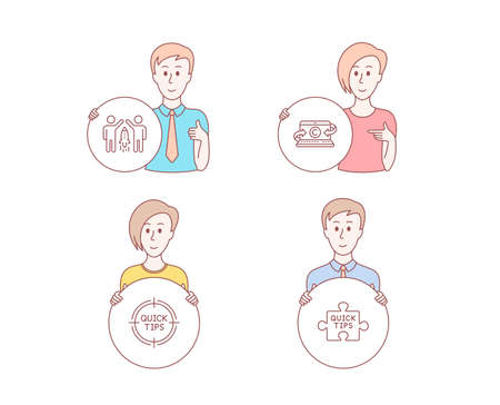 People hand drawn style. Set of Copywriting notebook, Tips and Partnership icons. Quick tips sign. Writer laptop, Quick tricks, Business startup. Tutorials. Character hold circle button. Vector