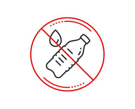 No or stop sign. Water bottle line icon. Clean aqua drink sign. Liquid symbol. Caution prohibited ban stop symbol. No  icon design.  Vector Çizim