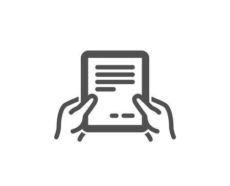 Mantenga presionado el icono de documento. Signo de archivo de texto de acuerdo. Contrato con símbolo de firma. Elemento de diseño de calidad. Icono de estilo clásico. Vector