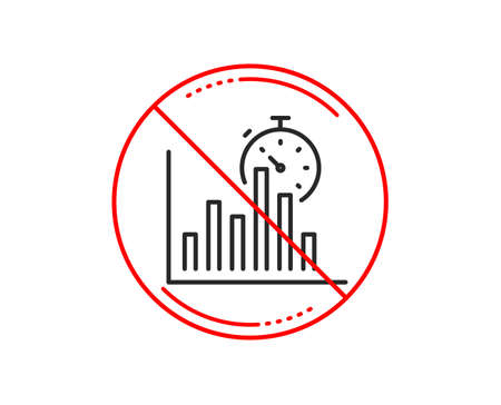 No or stop sign. Report timer line icon. Column graph sign. Growth diagram chart symbol. Caution prohibited ban stop symbol. No  icon design.  Vector Illustration