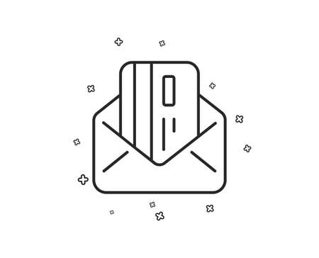 Credit card by mail line icon. Payment sign. Finance symbol. Geometric shapes. Random cross elements. Linear Credit card icon design. Vector