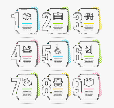 Infographic template with numbers 9 options. Set of Exit, 24 hours and Disabled icons. Parking place, Parking garage and Search package signs. Bus, Parcel symbols. Vector