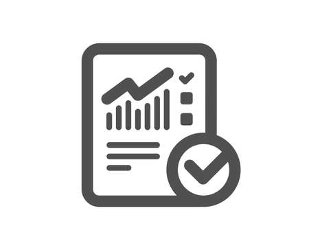 Checklist document icon. Analysis Chart or Sales growth report sign. Statistics data symbol. Quality design element. Classic style icon. Vector Reklamní fotografie - 126313437