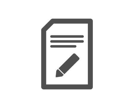 Edit Document icon. Information File sign. Paper page with pencil concept symbol. Quality design element. Classic style icon. Vector Illusztráció
