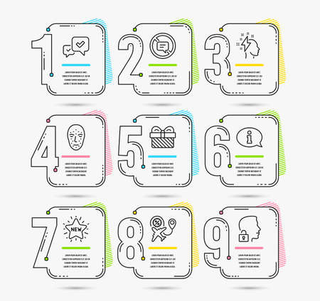 Infographic template with numbers 9 options. Set of Flight sale, Face biometrics and Approve icons. New star, Information and Brainstorming signs. Gift, Stop talking and Unlock system symbols. Vector
