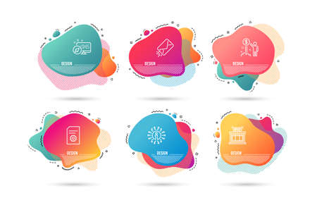 Dynamic liquid shapes. Set of E-mail, File settings and Shop icons. Income money sign. Mail delivery, File management, Store. Wealth.  Gradient banners. Fluid abstract shapes. Vector