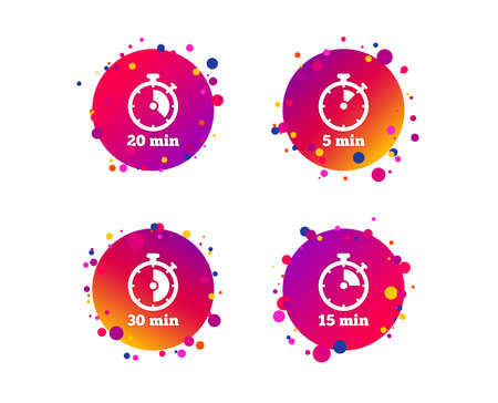 Timer icons. 5, 15, 20 and 30 minutes stopwatch symbols. Gradient circle buttons with icons. Random dots design. Vector