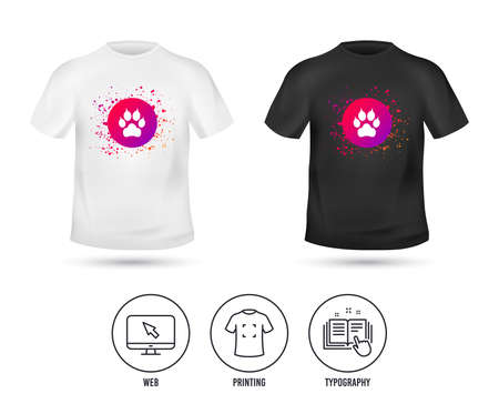 T-shirt mock up template. Dog paw with clutches sign icon. Pets symbol. Realistic shirt mockup design. Printing, typography icon. Vector