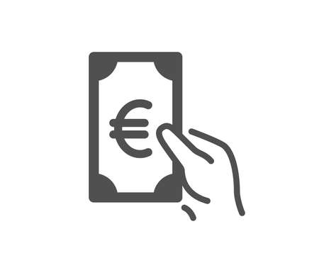 Hold Cash money icon. Banking currency sign. Euro or EUR symbol. Quality design element. Classic style icon. Vector