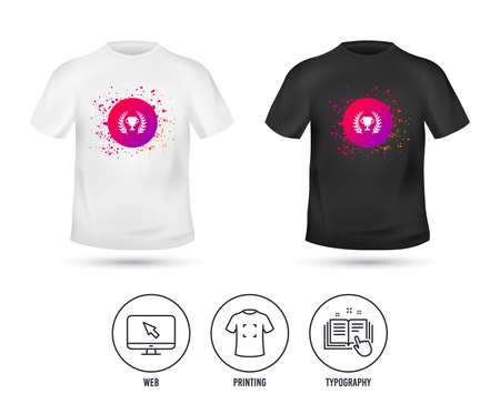 T-shirt mock up template. First place cup award sign icon. Prize for winner symbol. Laurel Wreath. Realistic shirt mockup design. Printing, typography icon. Vector Illustration