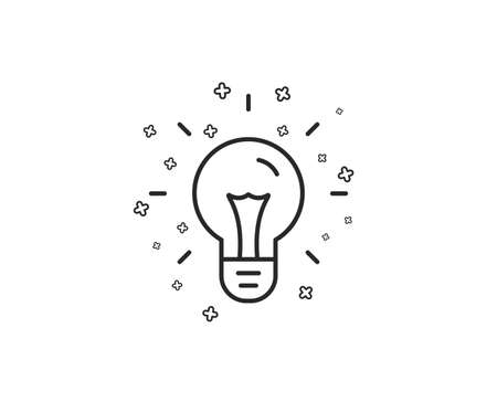 Idea line icon. Light bulb sign. Copywriting symbol. Geometric shapes. Random cross elements. Linear Idea icon design. Vector Vectores