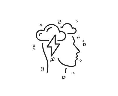 Mindfulness line icon. Psychology sign. Cloud storm symbol. Geometric shapes. Random cross elements. Linear Mindfulness stress icon design. Vector Çizim