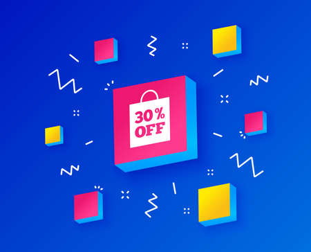 30% sale bag tag sign icon. Discount symbol. Special offer label. Isometric cubes with geometric shapes. Creative shopping banners. Template for design. Vector 向量圖像