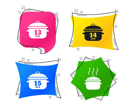 Cooking pan icons. Boil 13, 14 and 15 minutes signs. Stew food symbol. Geometric colorful tags. Banners with flat icons. Trendy design. Vector  イラスト・ベクター素材