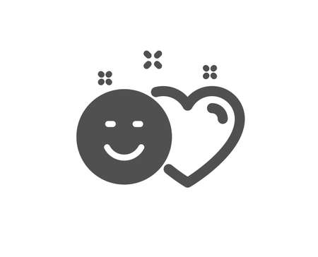 Social media like icon. Heart, smile sign. Positive feedback symbol. Quality design element. Classic style icon. Vector