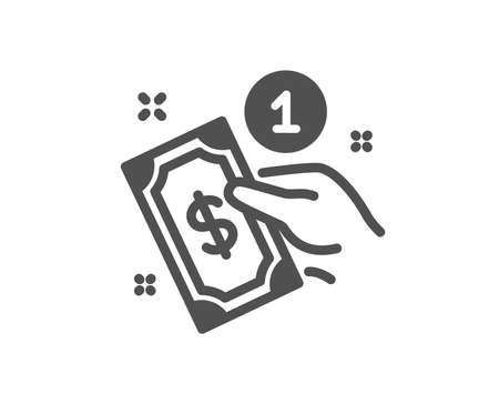 Payment method icon. Give cash money sign. Quality design element. Classic style icon. Vector