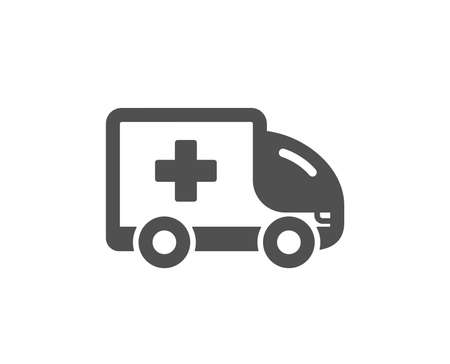 Ambulance emergency car icon. Hospital transportation vehicle sign. Medical symbol. Quality design element. Classic style icon. Vector