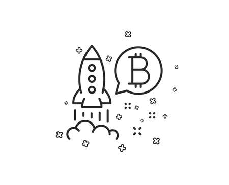 Icono de línea de Bitcoin. Signo de inicio de criptomonedas. Símbolo de cohete criptográfico. Formas geométricas. Elementos cruzados aleatorios. Diseño de icono de proyecto lineal Bitcoin. Vector