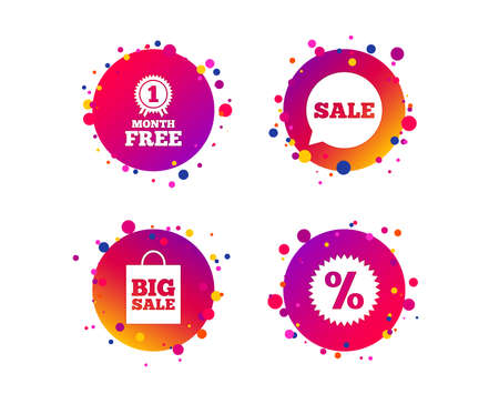 Sale speech bubble icon. Discount star symbol. Big sale shopping bag sign. First month free medal. Gradient circle buttons with icons. Random dots design. Vector Illustration