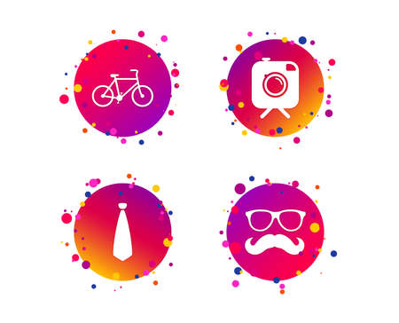 Hipster photo camera with mustache icon. Glasses and tie symbols. Bicycle family vehicle sign. Gradient circle buttons with icons. Random dots design. Vector Illustration