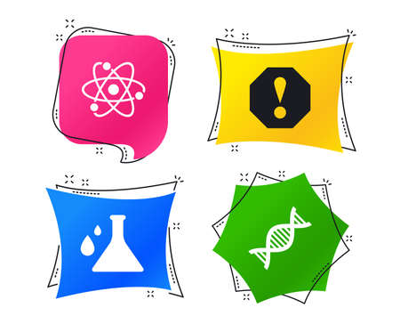 Attention and DNA icons. Chemistry flask sign. Atom symbol. Geometric colorful tags. Banners with flat icons. Trendy design. Vector