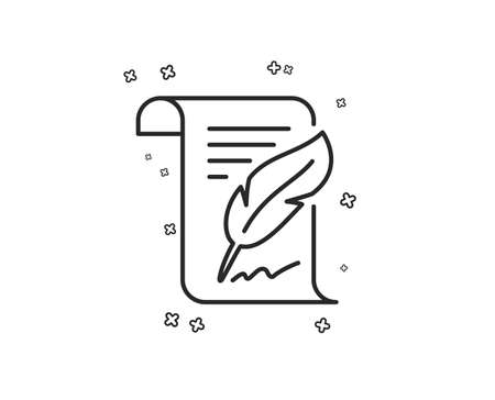 Feather signature line icon. Copywriting sign. Feedback symbol. Geometric shapes. Random cross elements. Linear Feather icon design. Vector