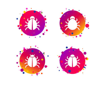 Bugs vaccination icons. Virus software error sign symbols. Gradient circle buttons with icons. Random dots design. Vector