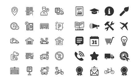 Parking line icons. Set of Garage, Valet servant and Paid parking linear icons. Video monitoring, Bike or Car park and Truck or Bus stopping symbols. Money payment, Map pointer and Free park place Illustration