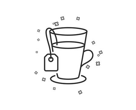 Tea with bag line icon. Hot drink sign. Fresh beverage symbol. Geometric shapes. Random cross elements. Linear Tea icon design. Vector