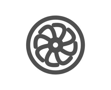 Icona del motore del ventilatore. Segno della turbina a getto. Simbolo del ventilatore. Elemento di design di qualità. Icona di stile classico. Vettore Vettoriali