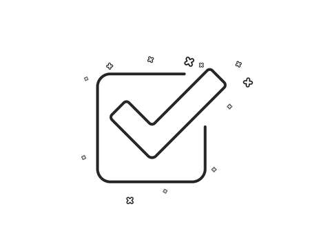 Check line icon. Approved Tick sign. Confirm, Done or Accept symbol. Geometric shapes. Random cross elements. Linear Checkbox icon design. Vector