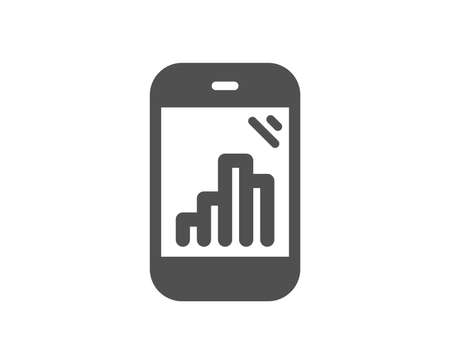 Graph phone icon. Column chart sign. Growth diagram symbol. Quality design element. Classic style icon. Vector