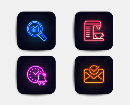 Neon glow lights. Set of Alarm bell, Data analysis and Coffee machine icons. Approved mail sign. Time, Magnifying glass, Cappuccino machine. Confirmed document.  Neon icons. Glowing light banners