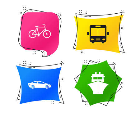Transport icons. Car, Bicycle, Public bus and Ship signs. Shipping delivery symbol. Family vehicle sign. Geometric colorful tags. Banners with flat icons. Trendy design. Vector Illustration