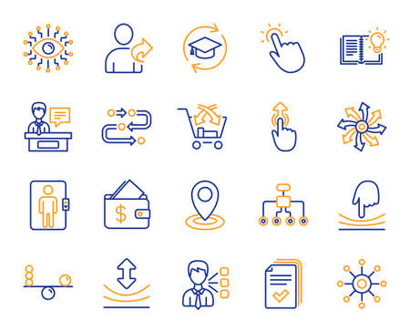 Artificial intelligence, Balance, Refer friend line icons. Continuing education, Methodology and Exhibitors icons. Swipe up, Elastic, Click here, Refer. Cross sell, Third party, Multichannel. Vector Stock Vector - 126313549
