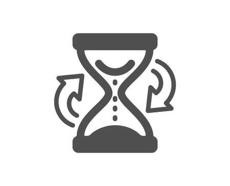 Symbol für die Aktualisierung der Sanduhr. Sanduhrzeichen. Hochwertiges Gestaltungselement. Symbol im klassischen Stil. Vektor