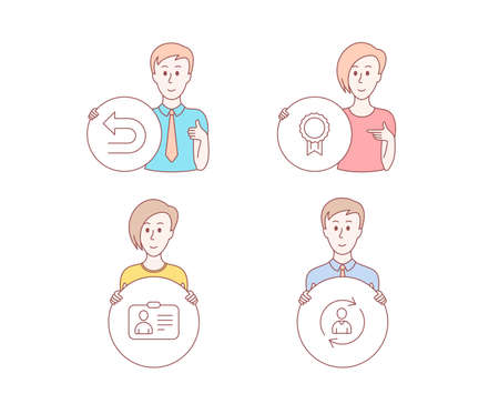 People hand drawn style. Set of Id card, Undo and Reward icons. Person info sign. Human document, Left turn, Best medal. Refresh user data.  Character hold circle button. Man with like hand. Vector