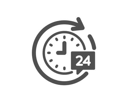 24 hours delivery icon. Time or stopwatch sign. Quality design element. Classic style icon. Vector