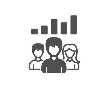 Icono de resultados de trabajo en equipo. Signo de grupo de personas. Elemento de diseño de calidad. Icono de estilo clásico. Vector