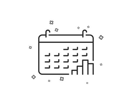 Calendar graph line icon. Column chart sign. Growth diagram symbol. Geometric shapes. Random cross elements. Linear Calendar graph icon design. Vector
