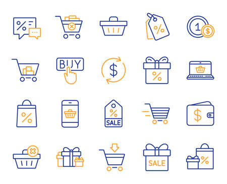 Shopping wallet line icons. Gift, Present and Sale offer signs. Shopping cart, Delivery gift and Tags symbols. Speech bubble, Discount, sale and wallet. Online buying. Surprise present. Vector
