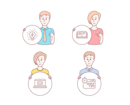 People hand drawn style. Set of Inspiration, E-mail and Education icons. Quick tips sign. Creativity, New message, Instruction book. Helpful tricks.  Character hold circle button. Man with like hand