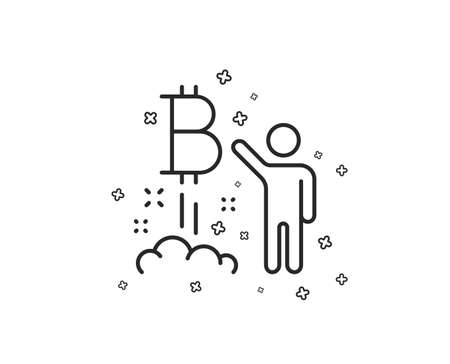 Bitcoin line icon. Cryptocurrency startup sign. Crypto project symbol. Geometric shapes. Random cross elements. Linear Bitcoin project icon design. Vector