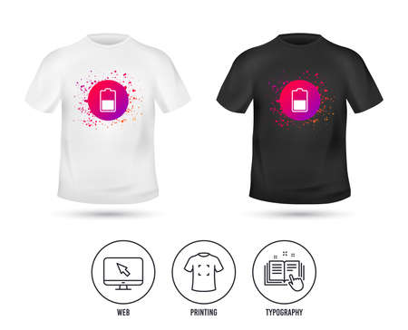 T-shirt mock up template. Battery half level sign icon. Low electricity symbol. Realistic shirt mockup design. Printing, typography icon. Vector