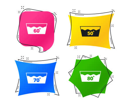 Wash icons. Machine washable at 50, 60, 70 and 80 degrees symbols. Laundry washhouse signs. Geometric colorful tags. Banners with flat icons. Trendy design. Vector Illustration