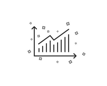 Chart line icon. Report graph or Sales growth sign. Analysis and Statistics data symbol. Geometric shapes. Random cross elements. Linear Graph icon design. Vector Illusztráció