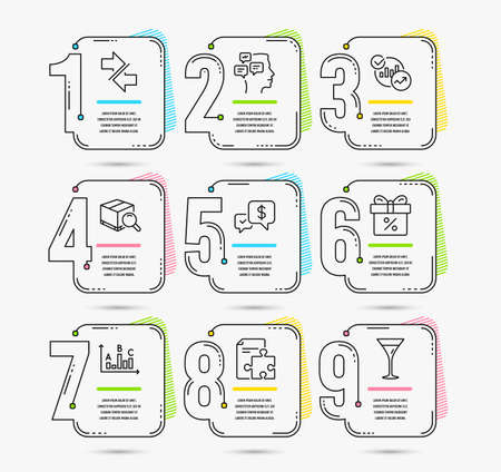 Infographic timeline set of Discount offer, Synchronize and Statistics icons. Messages, Strategy and Search package signs. Vector