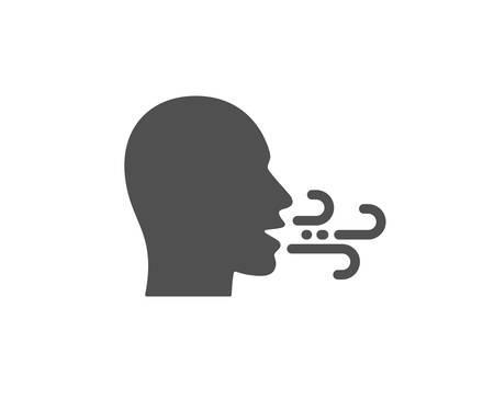 Atmungssymbol. Zeichen für Atembeschwerden. Symbol für Atemprobleme. Hochwertiges Gestaltungselement. Symbol im klassischen Stil. Vektor Vektorgrafik